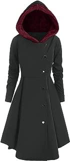 Autumn Winter Plus Size Asymmetric Fleece Contrast Single Breasted Hooded Skirted Coat Long Outwear
