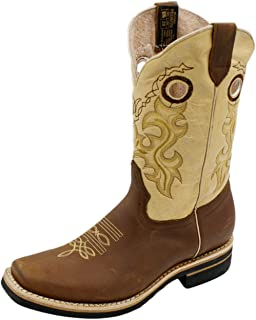 Dona Michi Men Cowboy Genuine Cowhide Leather Square Toe Rodeo Western Boots