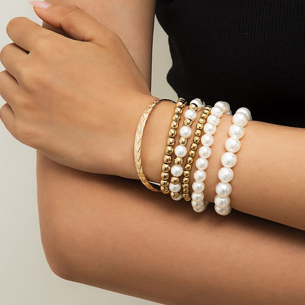 JWICOS Faux Pearl Bangle Bracelet Strand Gold Beaded Bracelets Wrist Cuff Wrap Bracelet for Women and Girls Set of 6 (Gold)