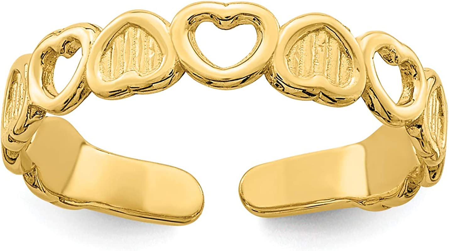 14k Yellow Gold Open and Solid Textured Inverted Hearts Toe Ring