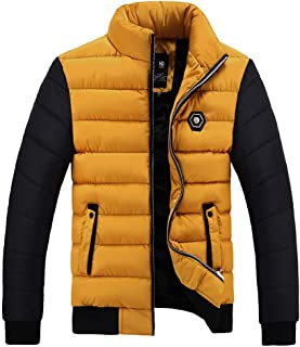 FLCH+YIGE Mens Full Zip Down Quilted Coats Winter Thermal Puffer Hood Coat Outerwear