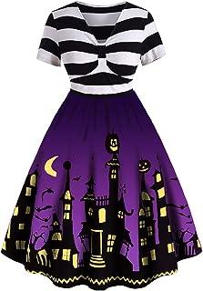 Women's Plus Size Halloween Dress Funny Striped Pumpkin Halloween Costume Flared Dresses
