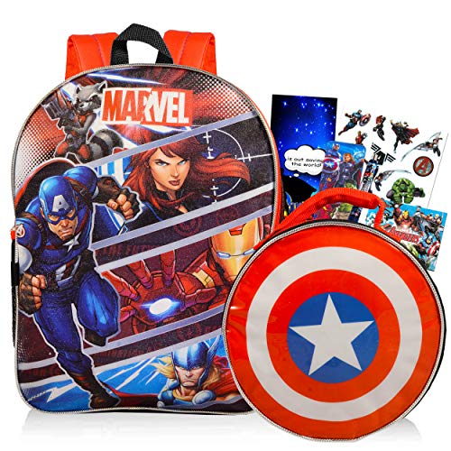 Marvel Avengers Backpack and Lunch Box for Kids Bundle ~ Deluxe 16' Backpack and Insulated Lunch Bag with Pen, Stickers, and More (Avengers School Supplies)
