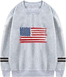 Custom Casual Long Sleeve Pullover Sweatshirt American Flag Shirt Tops for Men,Gray,M