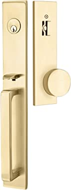 Emtek Contemporary Tubular Entry Set: Lausanne Style with Round KNOB on The Interior Side. 2 Backset Sizes Included 2-3/8 in.