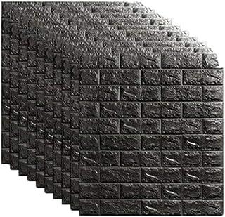 OSCO TOOLS 1PCS - 116 Sq Ft 3D Wall Sticker Self-Adhesive Wall Panels Waterproof PE Foam Black Wallpaper for Living Room T...