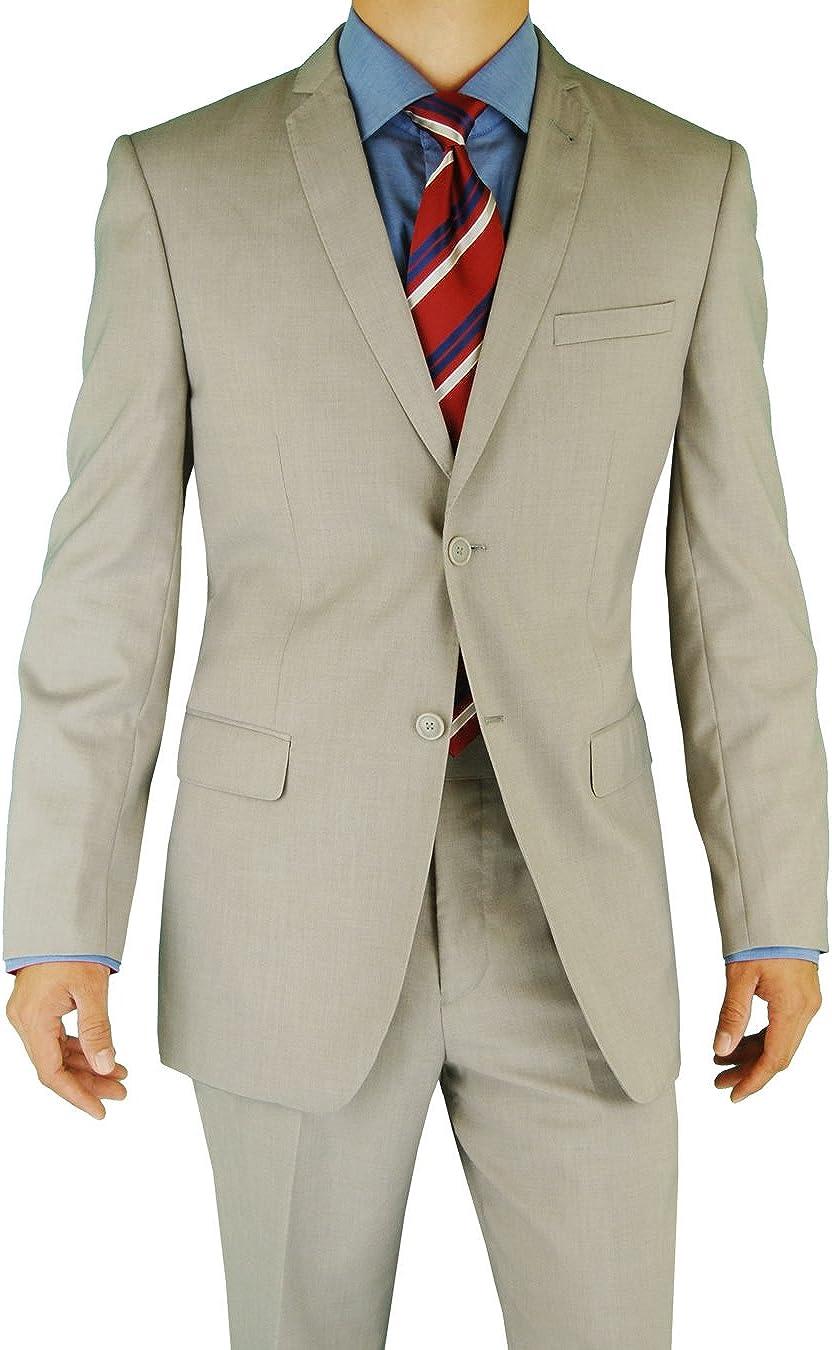 Giorgio Eleganz Men's Trim Modern Fit unisex Gray Light Button online shopping 2 Suit