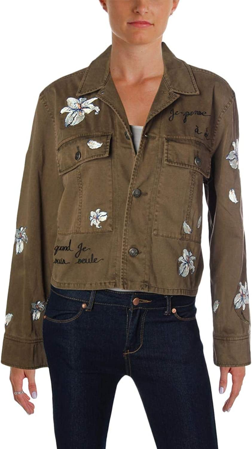 Cinq a Sept Womens Cosette Fall Floral Patches Cropped Jacket