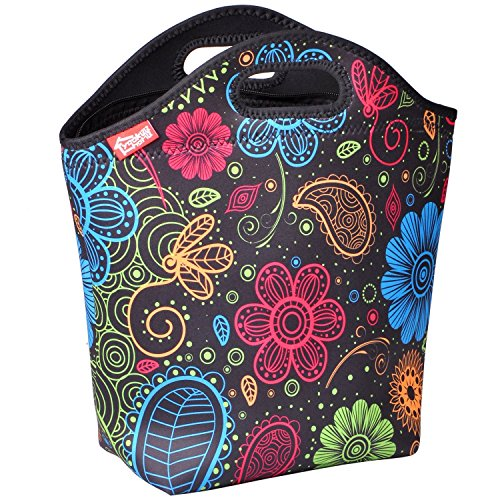 Large Lunch Bags for Women, Fashionable Adult Lunch Box Thick Water Resistant Neoprene Insulated Lunch Bag for Work Office Outdoor Picnic, Colorful Paisley