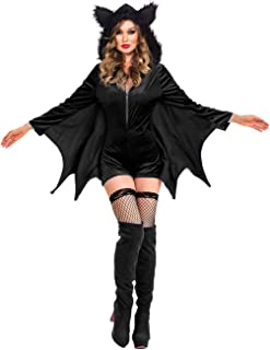 Women Black Witch Halloween Costume for Adults 2PC Cloak Hooded Dress