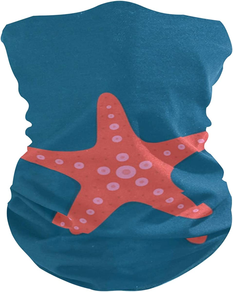 Orange StarfishPrint Headband Face UV Sun Protection Mask Neck Gaiter Magic Scarf Bandana Headwear Balaclava for Women Men