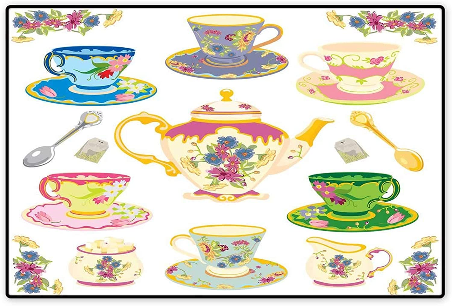 Tea Party Door Mat Outside Selection of Vivid colord Teacups Pot Sugar and Floral Arrangements in Corners Floor Mat Pattern 32 x48  Multicolor