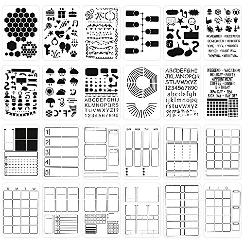 24Pcs Journal Stencils for Journaling Plastic Planner Stencils Set Ultimate Productivity Stencil for A5 Bullet Dotted Journals Notebook Daily Weekly Monthly Calendars Scrapbook DIY