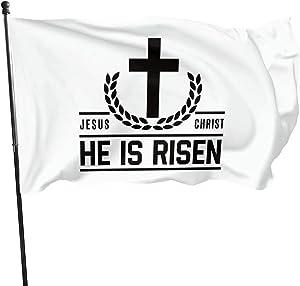 Jesus Christ He is Risen Christian Outdoor Banner Home Garden Flags Decorative Banner 3X5 Ft.