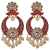 Efulgenz Indian Bollywood Antique Gold Plated Wedding Faux Pearl Crystal Rhinestone Dangle Chandbali Earrings Jewelry Set (Style 2)