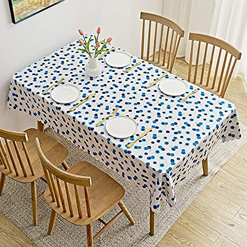 guatan Nappe Rectangulaire,PVC Plastic Oblong Table Cloth, Blueberry Pattern Table Cover, Stain Proof Wipeable Waterproof Wipe Clean Table Cloths for Home Restaurant Picnic Party Dining,140×140Cm