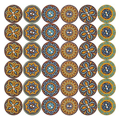 LIHAO 120 Stück Vintage Holzknöpfe Rundd Knöpfe Holz Blume Malerei Retro für Nähen Basteln Dekoration DIY