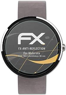 atFoliX Skärmskydd är kompatibel med Motorola Moto 360 2.Generation 46 mm Skyddsfilm, antireflekterande och stötdämpande F...