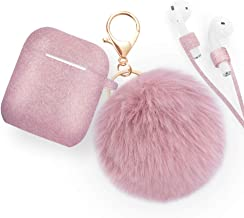 Xmifer AirPods Case, Cute Airpods Case Keychain Drop Proof (Silicone Skin and Cover for AirPods Charging Case 2/1) with Fluffy Fur Ball Keychain and Airpods Anti-Lost Strap for Airpods 2/1 (Rose Gold)