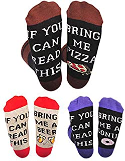 Sexybody Novelty Funny Saying Crew Socks, If You Can Read This Bring Me Beer Wine Coffee Pizza Taco Donut Socks for Men Women