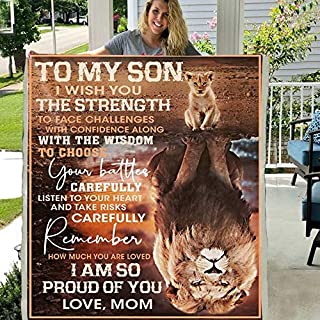 to My Son I Wish You The Strength 3D Custom Fleece Photo Blanket Fan Gift for Son Kids (X-Large 80 X 60 INCH)