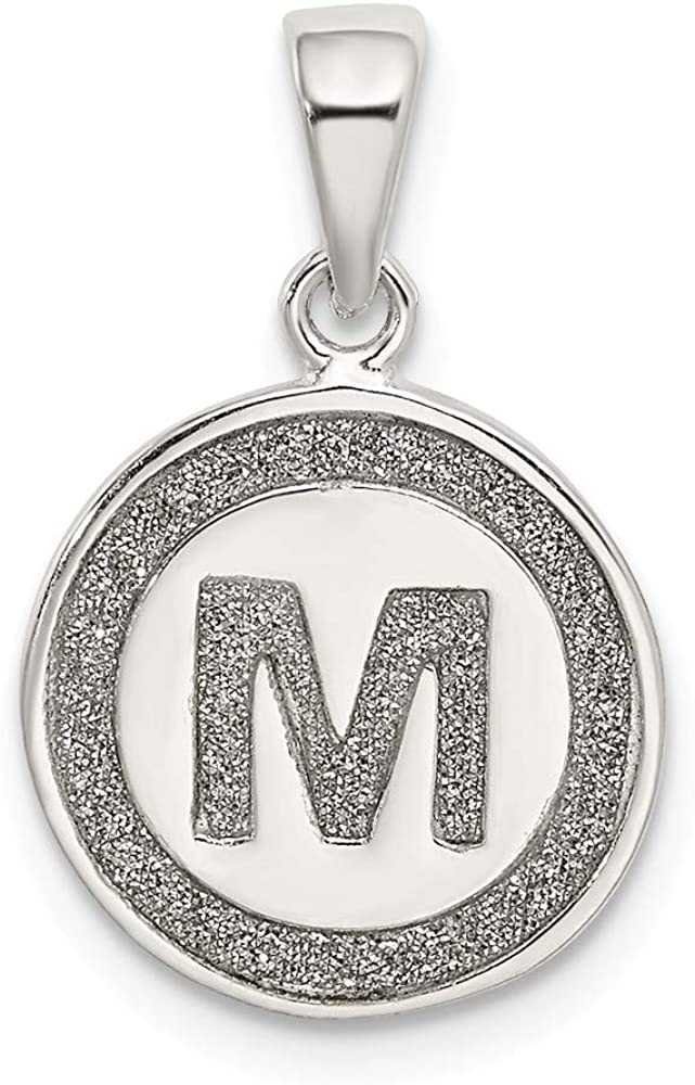 Solid 925 Sterling Trust Silver Glitter Los Angeles Mall Enamel M Pendant Circle Letter