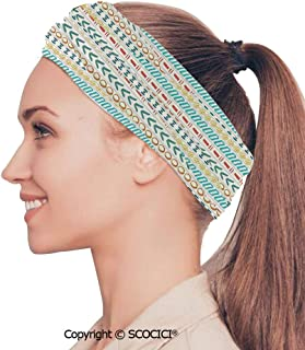 SCOCICI Stretch Soft and Comfortable W9.4xL18.9in Headscarf Headbands Collage Mix Diverse Herbs and Blossoming Bouquet Flowers Romantic Wedding Concept,Green Violet Perfect for Running, Working Out,