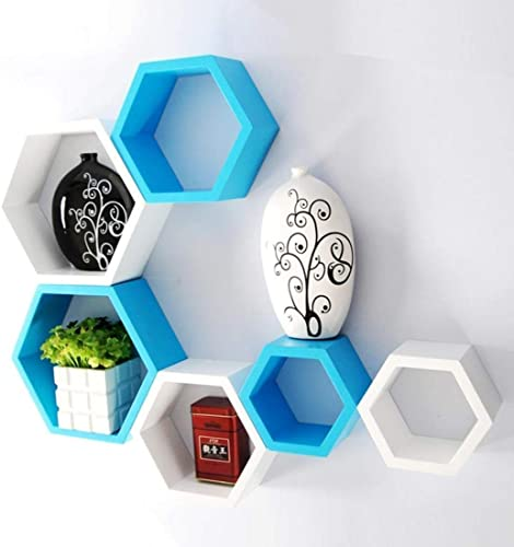 Clover Crafts Hexagonal Shape Floating Wall Mounted Shelf for Living Room Bed Room Kitchen Home Decoration Set of 6 Sky Blue White