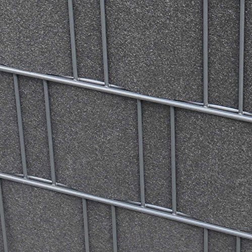 Zaundruck Sichtschutzstreifen Melange Vlies 100% PL   formbeständig   26m L - 19cm B   Incl. Klemmschienen (Anthrazit)