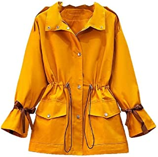 neveraway Womens Plus Size Pocket Trench Coat Smocked Waist Tops Outwear