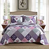 HoneiLife Quilt Set Queen Size - 3 Piece Microfiber Quilts Reversible Bedspreads Patchwork Coverlets Floral Bedding Set All Season Quilts with Geometric and Little Rose Print Pattern,Queen Size