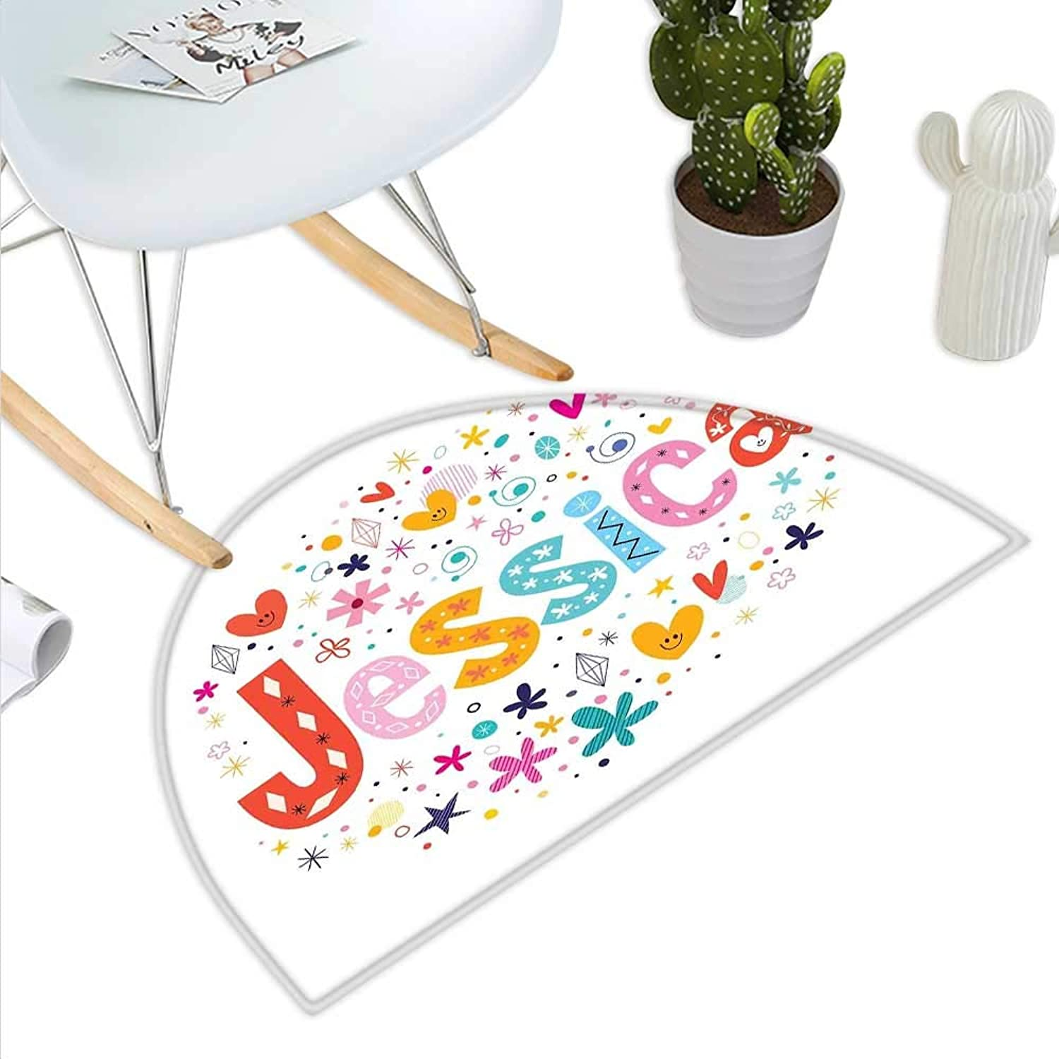 Jessica Semicircle Doormat Retro colorful Motifs Swirls Chevron Zigzags and Happy Hearts Ornate Dots Backdrop Halfmoon doormats H 27.5  xD 41.3  Multicolor