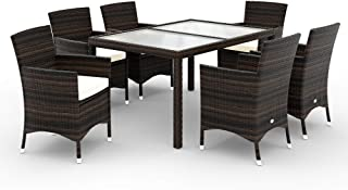 Deuba Conjunto de sillas y Mesa de poliratán Marrón 6+1 sillas apilables Cojines de 7cm de Grosor Set de jardín terraza