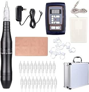 Solong Tattoo Pen Kit Hybrid Rotary Tattoo Machine Permanent Makeup Pen Kit Power Supply 20 Needle Cartridges EK201A (Black)