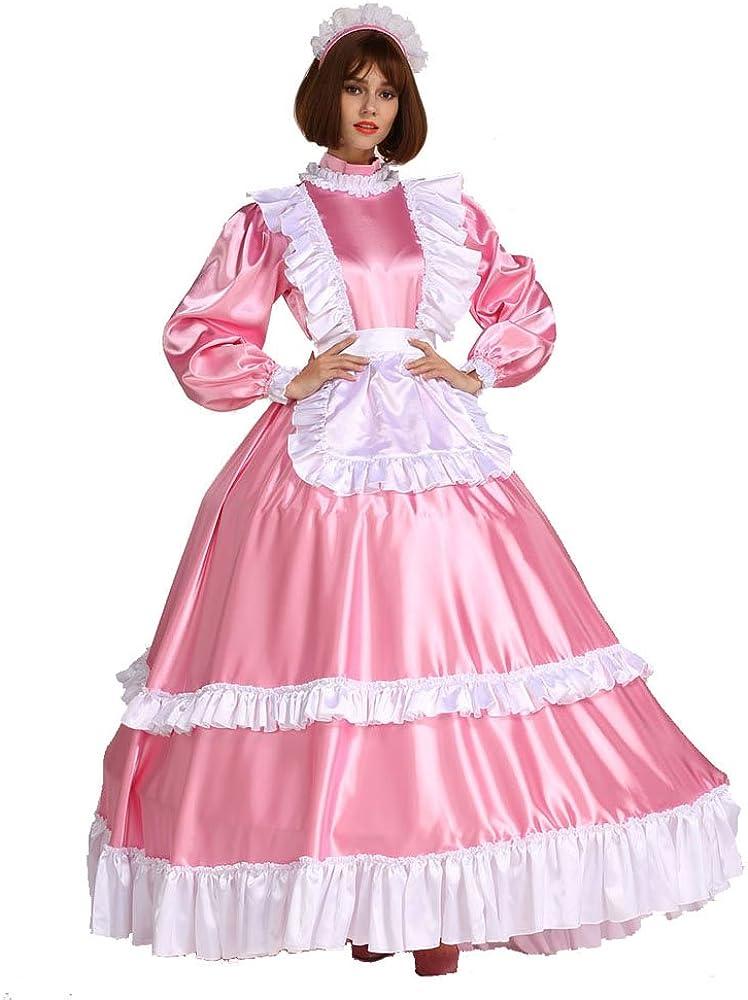 5 ☆ popular GOceBaby Sissy Maid Lockable Satin Dress Costume Pink Cross Long At the price