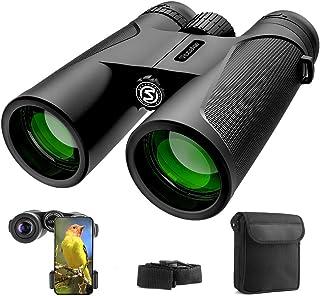 Prismáticos Profesionales, 12x42 HD Prismaticos Visión Nocturna débil con Adaptador de Teléfono, Prismas BaK4 y FMC. Ideales para Observación de Aves, Caza, Senderismo, Astronomía y Camping