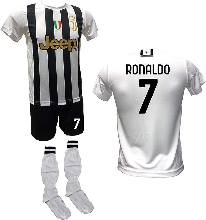 DND Di D'Andolfo Ciro Completo Calcio Maglia bianconera Home Cristiano Ronaldo CR7, Pantaloncino con Numero 7 Stampato e Calzettoni Replica ...