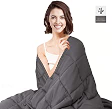 HabiLife Cooling Weighted Blanket 20 lbs for Adult 60''x80'' Queen Size, 100% Natural Bamboo Viscose with Glass Beads,Heavy Blanket(Grey)