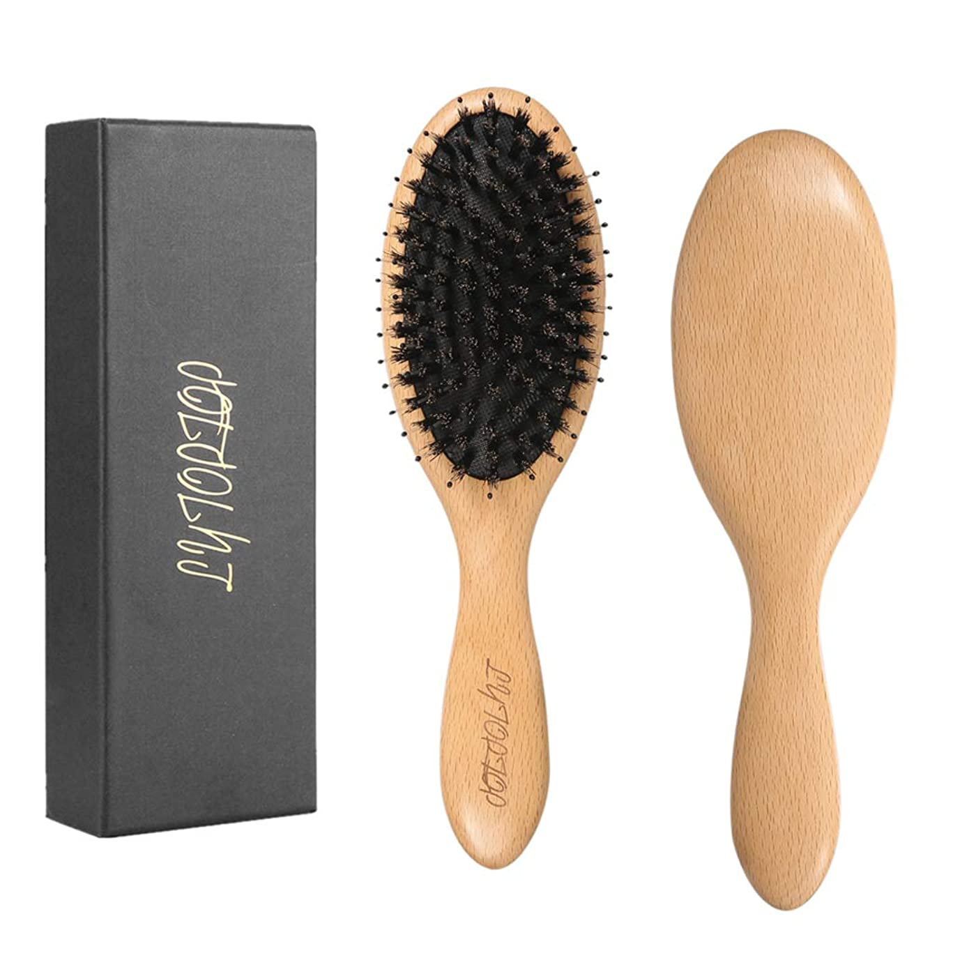 Boar Bristle Hair Brush for Men & Women-Natural Beech Professional Detangler Hairbrush with Wooden Paddle for Long,Thick,Curly,Dry or Damaged Hair-Reduce Hair Breakage and Frizzy, Giftbox Included