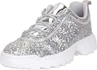 Cambridge Select Women's 90s Ugly Dad Low Top Glitter Lace-Up Chunky Fashion Sneaker