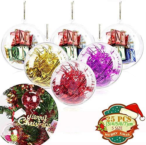 MSDADA Lot de 25 boules de Noël en plastique transparent à remplir - 3, 4, 5, 6, 7 cm