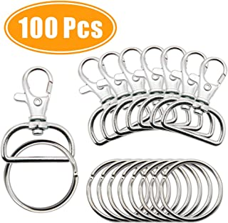 100 Pcs Metal Swivel Lanyard Snap Hook with D Rings, for Key Chains, Key fobs, Charms, DIY Crafts and Lanyard Supplier