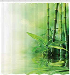 """Ambesonne Asian Shower Curtain, Bamboo Stalks Reflection on Water Blurs Freshness Japanese Nature Spa, Cloth Fabric Bathroom Decor Set with Hooks, 84"""" Extra Long, Green Ombre"""