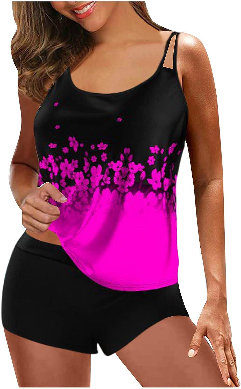Swimsuits for Women Tummy Control Swimwear High Waisted Bikini 2 Piece Bathing Suit Tankini Beach Split Swimsuit