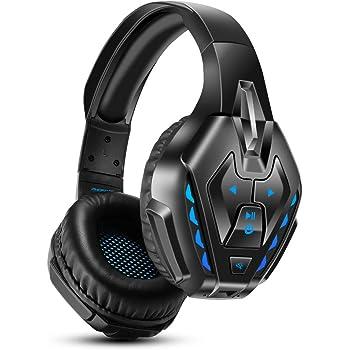 PHOINIKAS Cuffie Gaming PS4, Cuffie Wireless Bluetooth con surround 7.1 per bassi, Cuffie da Gioco con Microfono per Xbox One, PC, Nintendo Switch - Blu