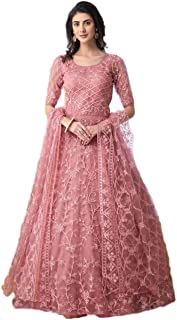 Ethnic Empire Women's Net Semi-Stitched Anarkali Long Gown