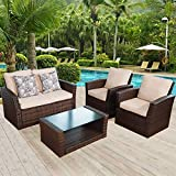 Aclumsy 4 Piece Outdoor Patio Furniture Sets, Wicker Conversation Set for Porch Deck, Gray Rattan Sofa Chair with Cushion