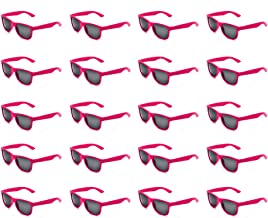 20 Packs Wholesale Adults and Kids Neon Colors 80's Retro Style Square Party Favors Sunglasses