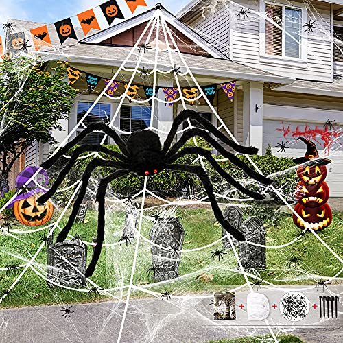 HOPOCO Halloween 200″ Spider Web + 59″ Giant Plush Spider Decorations with Red Eyes + 20 Plastic Spiders+ 20g Stretch Spider Web for Indoor Outdoor Halloween Decorations for Party Porch Décor