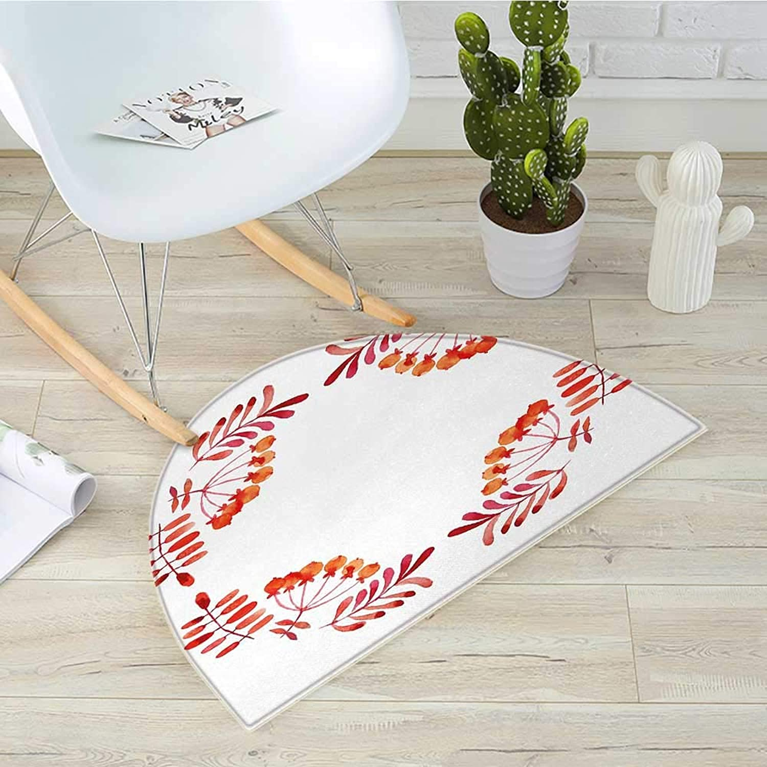 Rowan Semicircle Doormat Watercolor Style Artistic Leaves with Fruits Square Frame Design Autumn colors Halfmoon doormats H 51.1  xD 76.7  Red orange White
